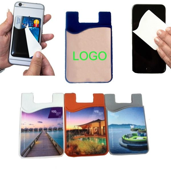 Silicone Cell Phone Wallet w/Screen Cleaner