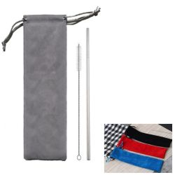 Stainless Steel Drink Straws With Pouch